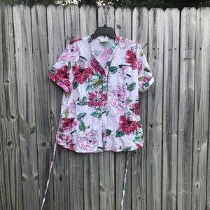XL floral scrubs top